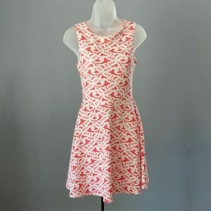 Charming Charlie White & Coral Fit & Flare Dress S
